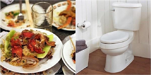Thói quen đổ bỏ thực phẩm thừa vào bồn vệ sinh là nguyên nhân gây tắc nghẽn bồn cầu
